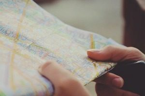 Carte, Navigation, Mains, Voyage